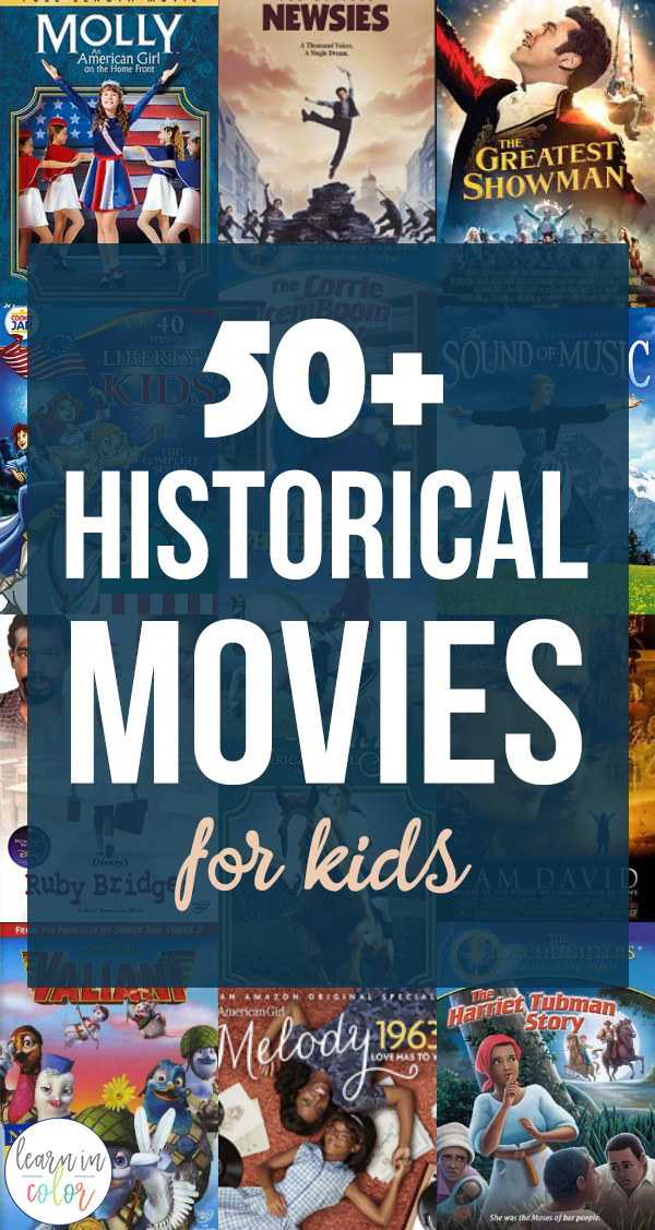 50+ historical movies for kids, teach history and homeschool history with these fun movies for kids!