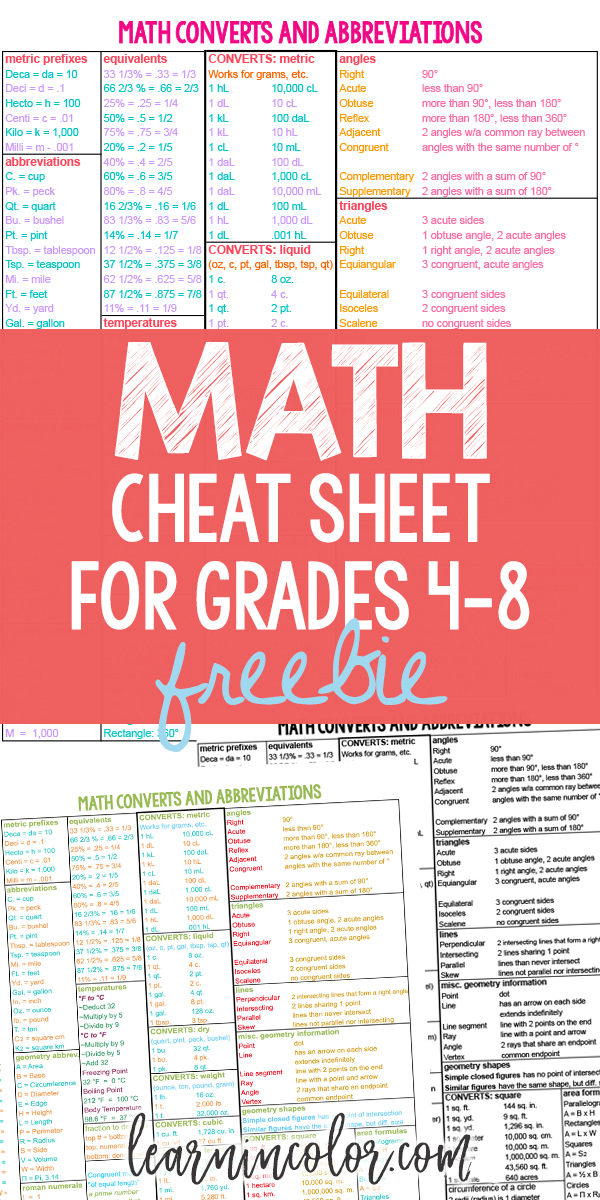 For everyone who struggles with math, here is a Math Cheat Sheet! It functions asa student handout,an addition to aschoolbinder, or a free homeschool math referencesheet to complement a homeschool math curriculum.