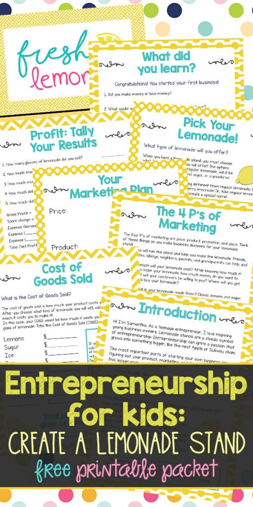 The lemonade stand has always been a classic symbol of entrepreneurship. Use these free printables as a unit study to teach kids about entrepreneurship and starting a business!