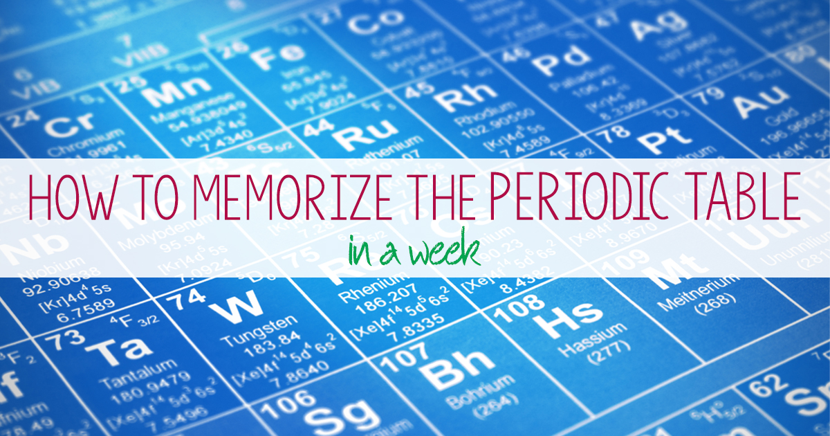How to memorize the periodic table of the elements in a week urtaz