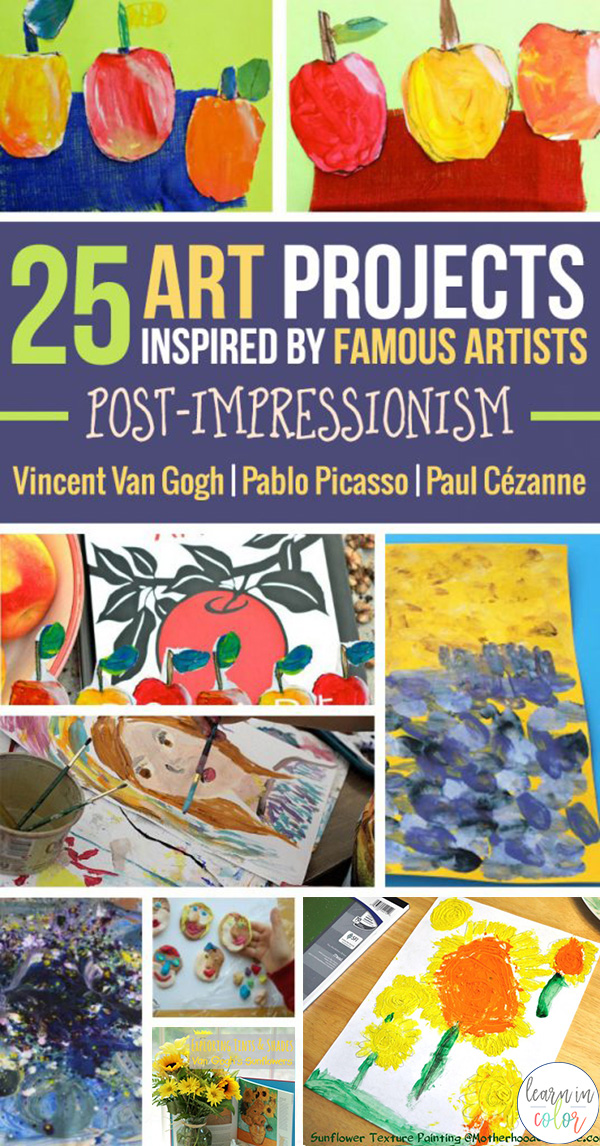 Here are 25 art projects for kids inspired by famous artists from the post-Impressionism time period. Art projects are inspired by Vincent Van Gogh, Pablo Picasso, and Paul Cézanne.