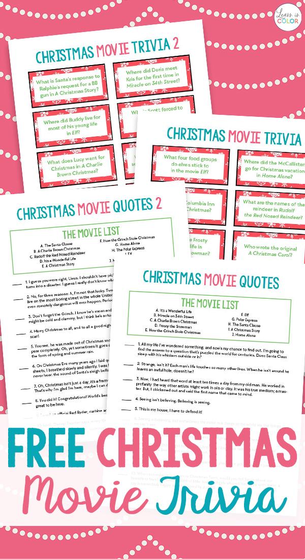 Free Printable Christmas Movie Trivia: Christmas Game Night