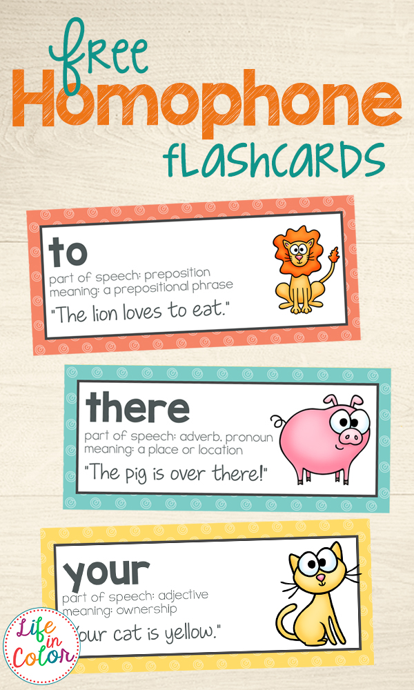 Free Printable Homophone Flashcards and Word Wall Words