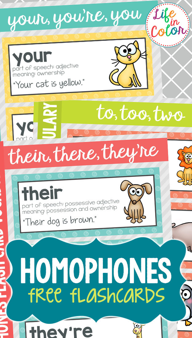Practice homophones with these free homophone flashcards and word wall words! Words used include their, there and they're; to, two and too; your and you're.