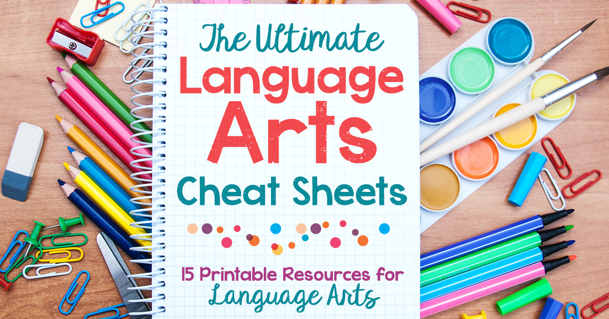 graphic regarding Grammar Cheat Sheets Printable named Supreme Language Arts Cheat Sheets: Language Arts Printable