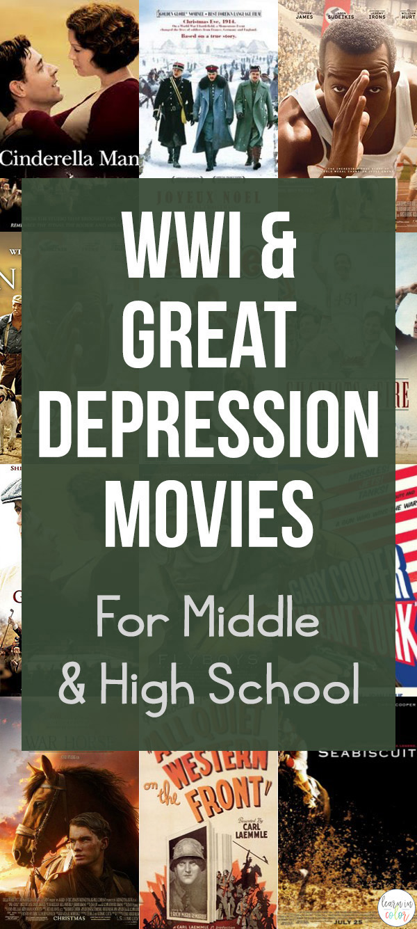 Bring history to life through movies! Here is a list of WWI and Great Depressionmovies for middle school and high school that are PG-13 or under.