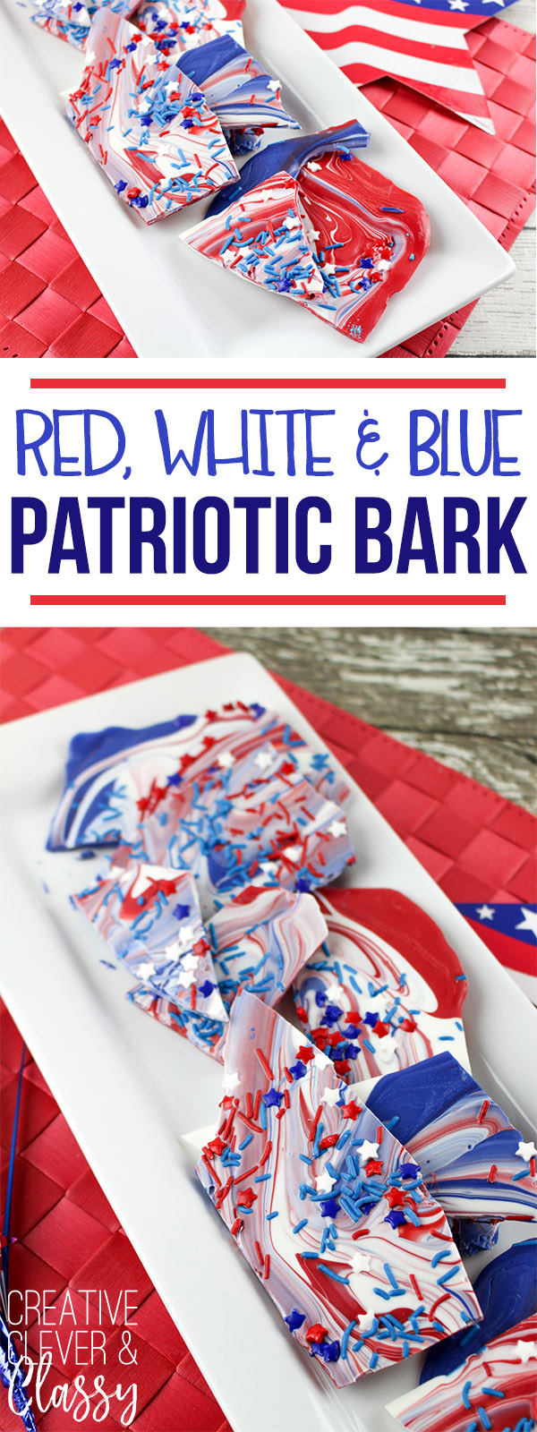 Try this simple red, white and blue chocolate bark, a patriotic recipe great for the 4th of July!