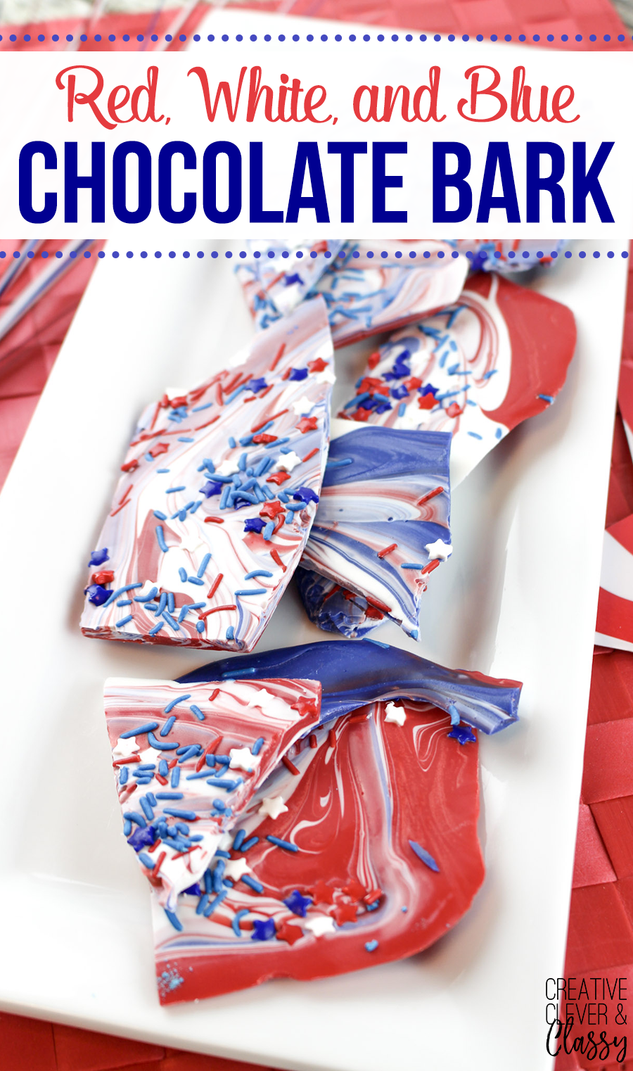 One of the easiest patriotic dessert recipes out there, here is a delicious red, white and blue swirled patriotic bark great for the 4th of July!