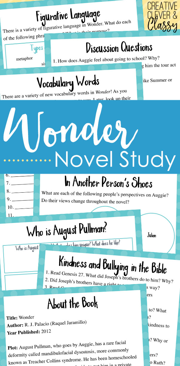 Learn about Wonder by R. J. Palacio with this Wonder Book Study, with worksheets on comprehension, literary elements, and more.