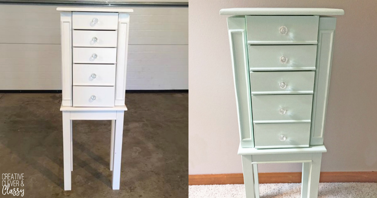 I found a white jewelry armoire at a garage sale, and decided to give it a paint job. Here is a simple tutorial on how to paint furniture!
