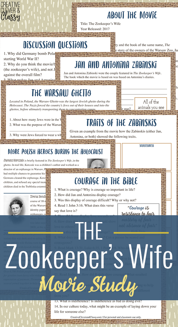 The Zookeeper's Wife is the poignant story of a couple who hid 300 Jews during the Holocaust. Here is a movie study (designed for high school students) with discussion questions.