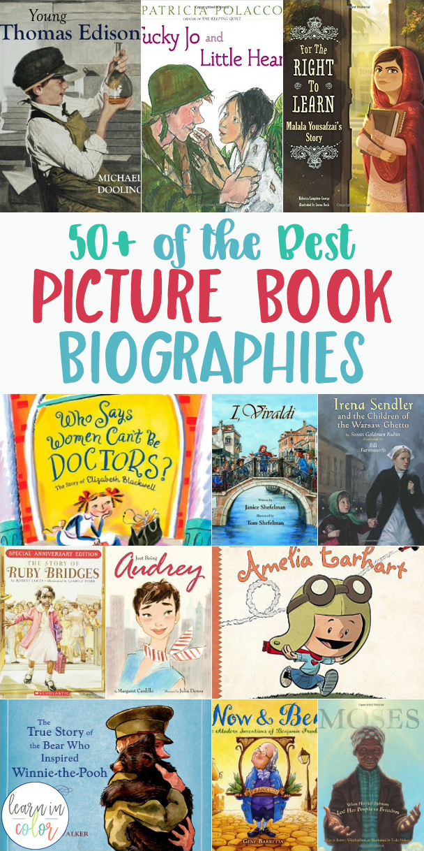 Books are a great way to bring history alive! Here are 50+ of the best children's historical picture book biographies and autobiographies/memoirs for kids.