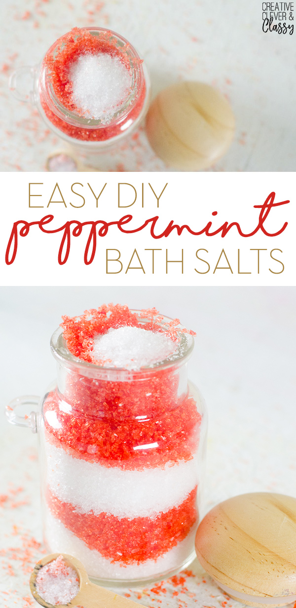 For an easy homemade Christmas gift, try Christmas peppermint bath salts! They have pretty red and white layers, and are perfect for a relaxing bath.