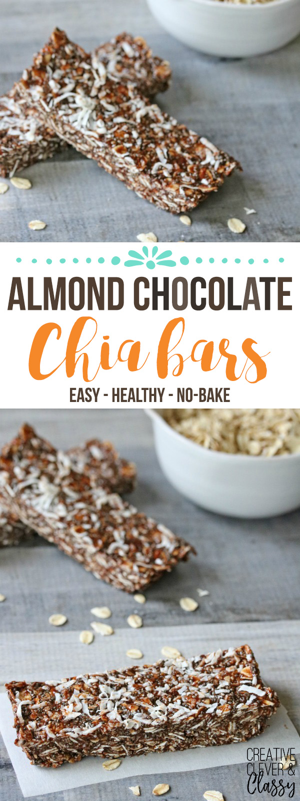 Create these easy, no-bake almond chocolate chia bars - great for a healthy snack! There is also a protein option for an extra strong boost of energy.