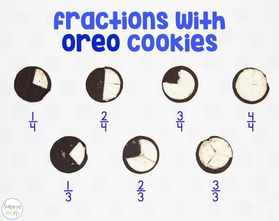 Use Oreo cookies to teach fractions with these free printable fraction mats! Enjoy this fun, hands-on and edible math activity!
