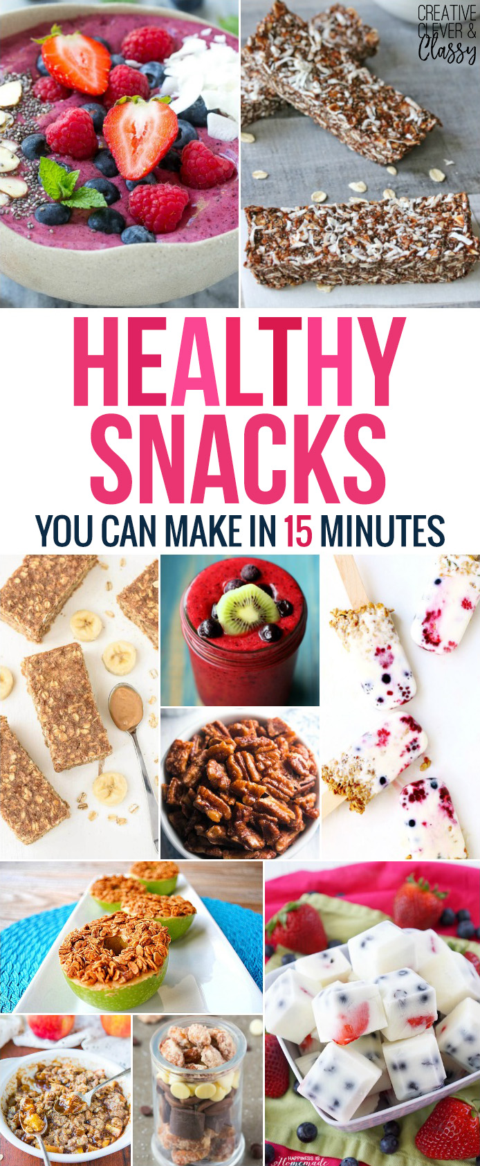 Healthy eating has never been tastier. Enjoy these quick and easy healthy snacks you can create in 15 minutes and munch on all day.
