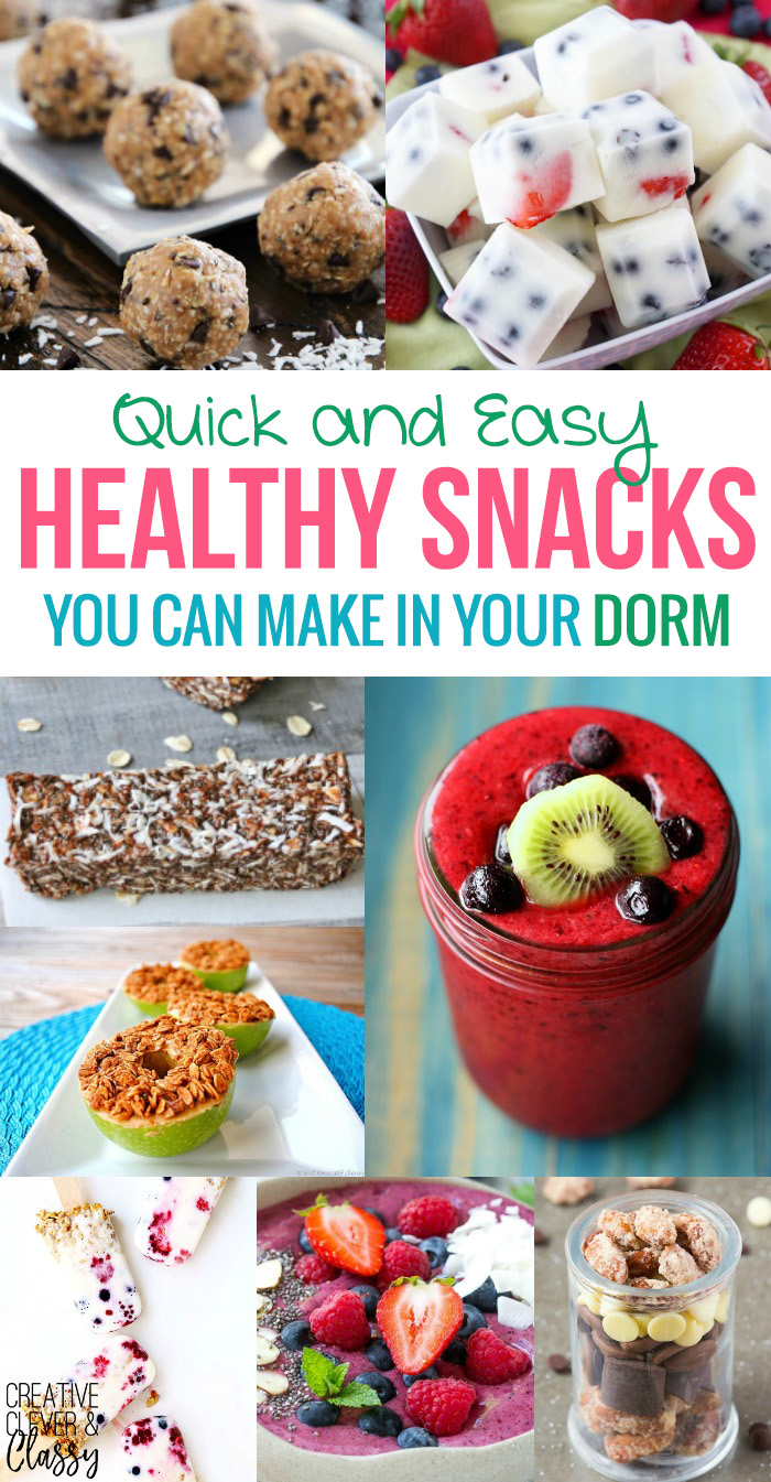 Say goodbye to the college freshman 15! Here's some of the best quick and easy healthy snacks you can make in your dorm room.