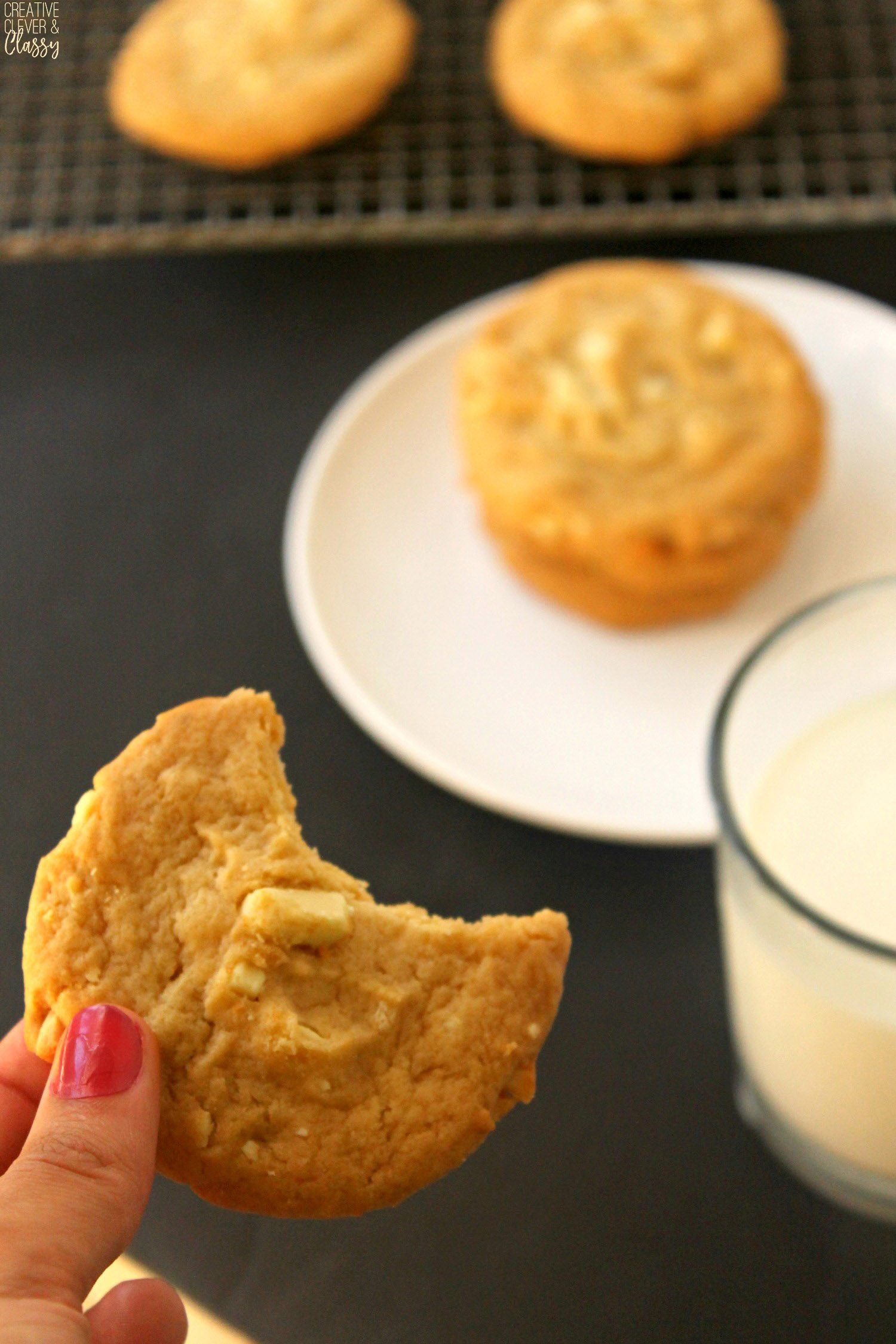 My favorite part of Christmas is making Christmas cookies! Try these delicious white chocolate macadamia nut cookies!