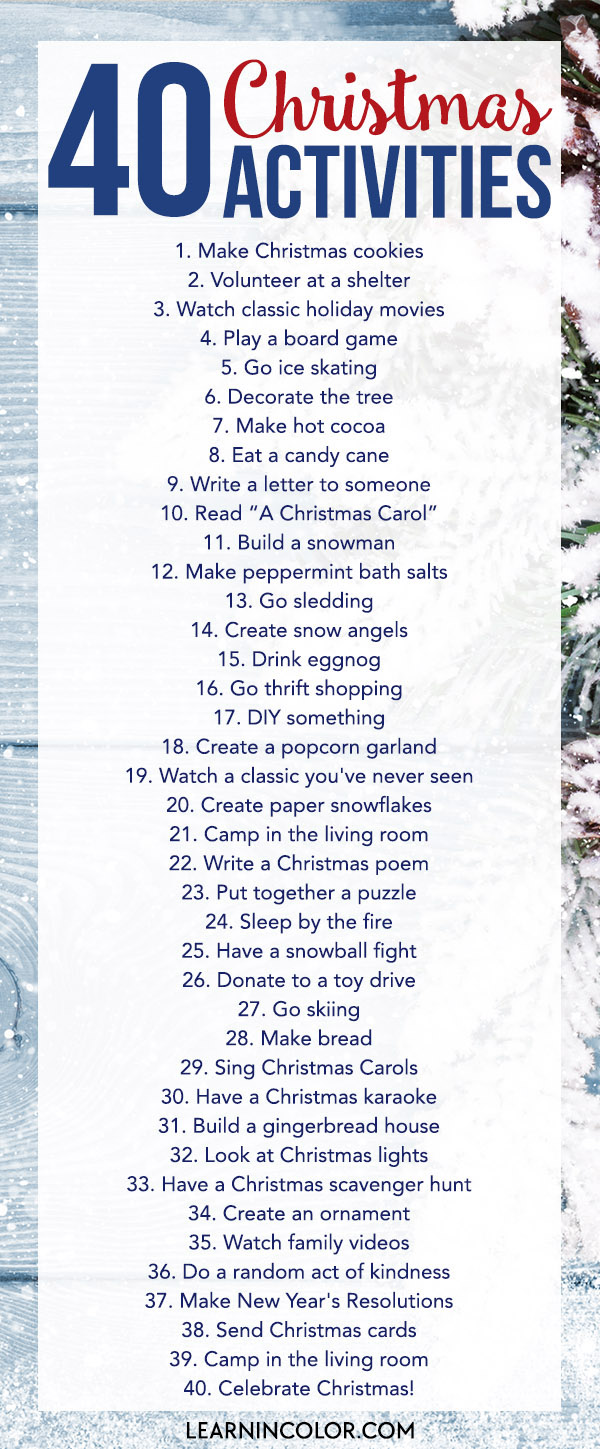 Have fun this Christmas season and complete these 40 Christmas Activities challenge with the family!
