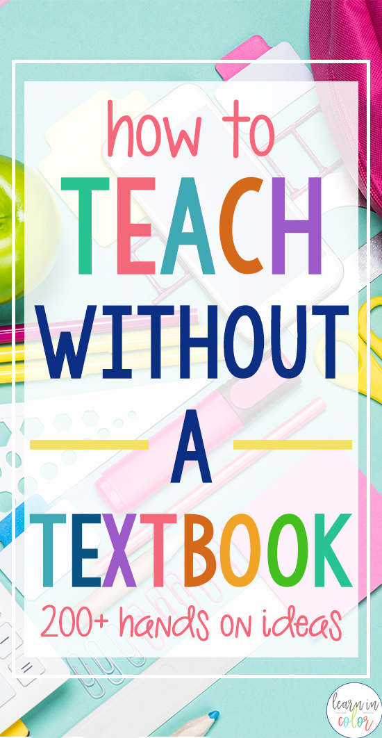 Teach without a textbook with these 200+ ideas for math, history, language arts, and more!