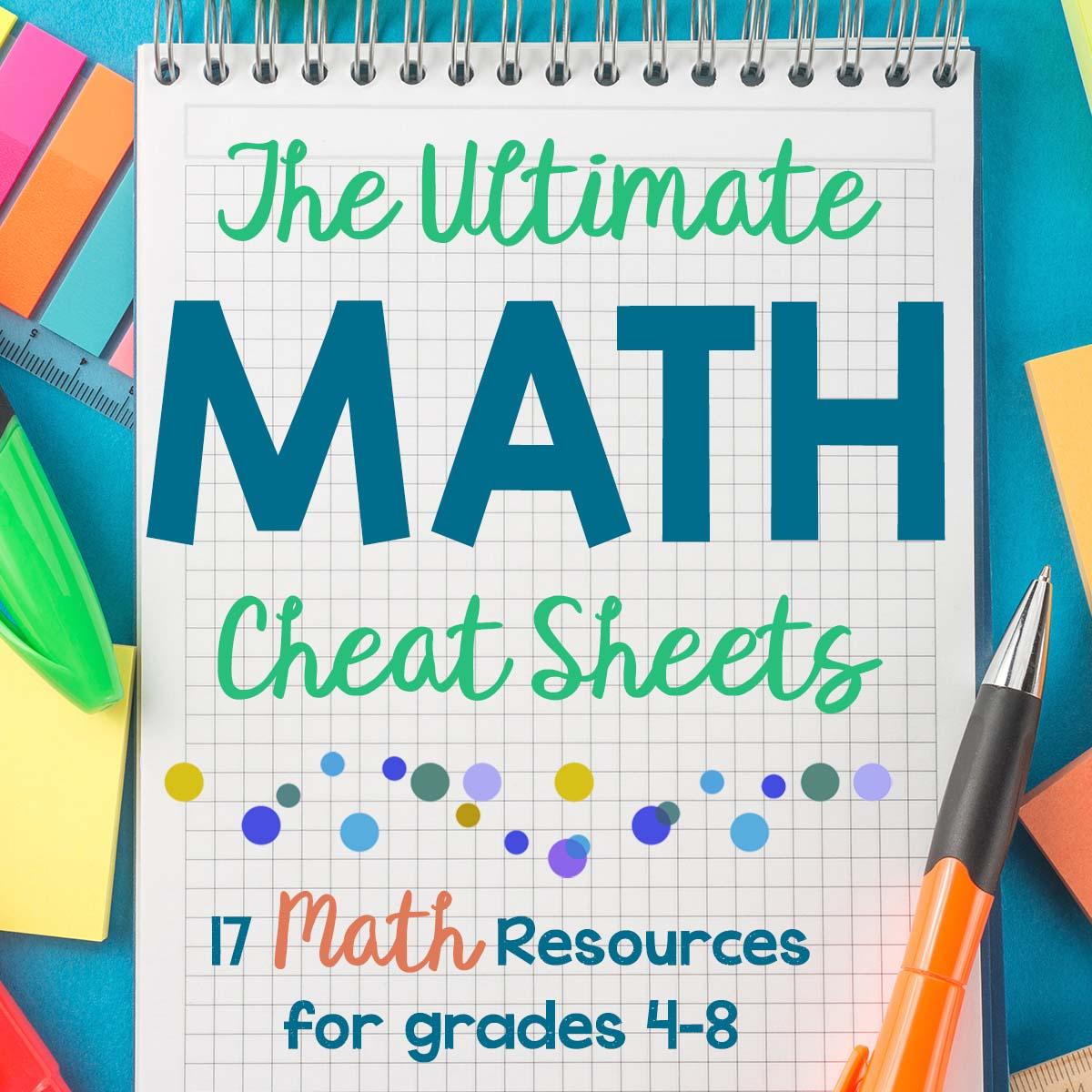 Math Cheat Sheet: Free Homeschool Math Resource for Grades 4-8