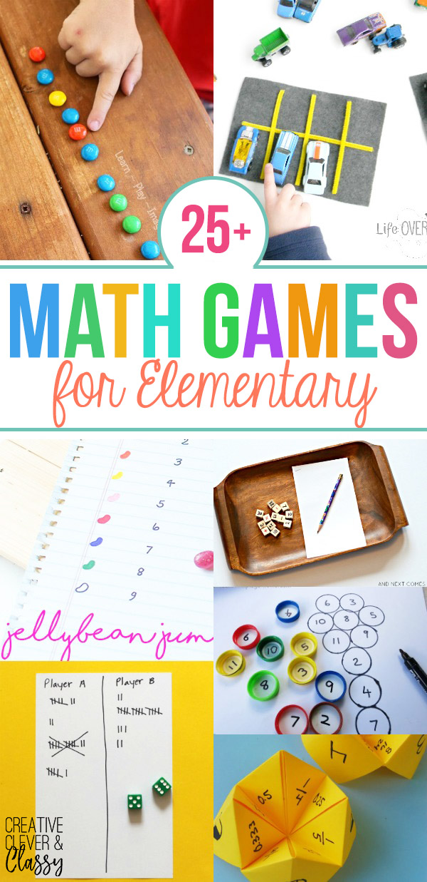 Enjoy math hands-on with these 25+ DIY math games for elementary students! Use these to teach fractions, multiplication, addition, and more!