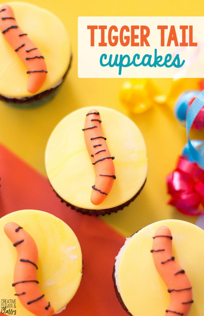 With the new Winnie the Pooh movie Christopher Robin coming out, celebrate with this simple Tigger tail cupcakes!