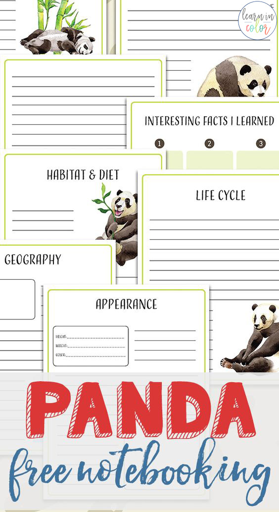 Whether you're putting together a unit study on China or panda bears, enjoy these free panda notebooking pages!