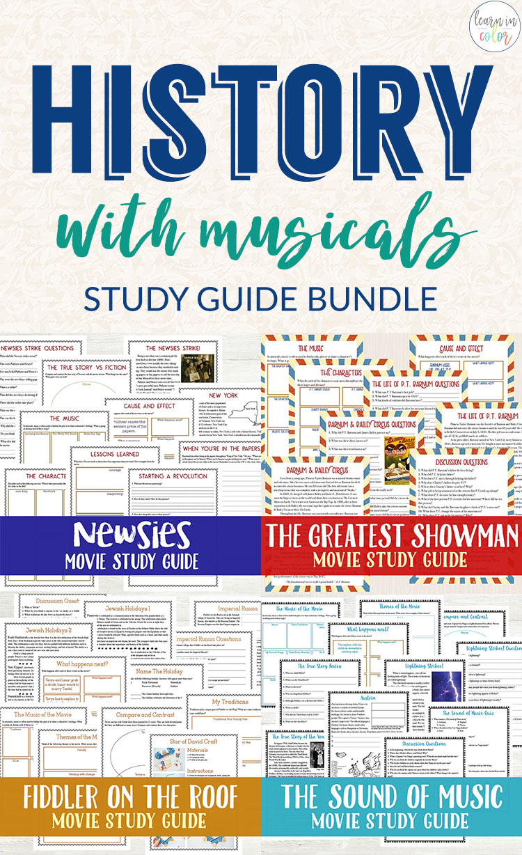 Teach history with musicals with these musical movie studies including The Greatest Showman, Sound of Music, and more!