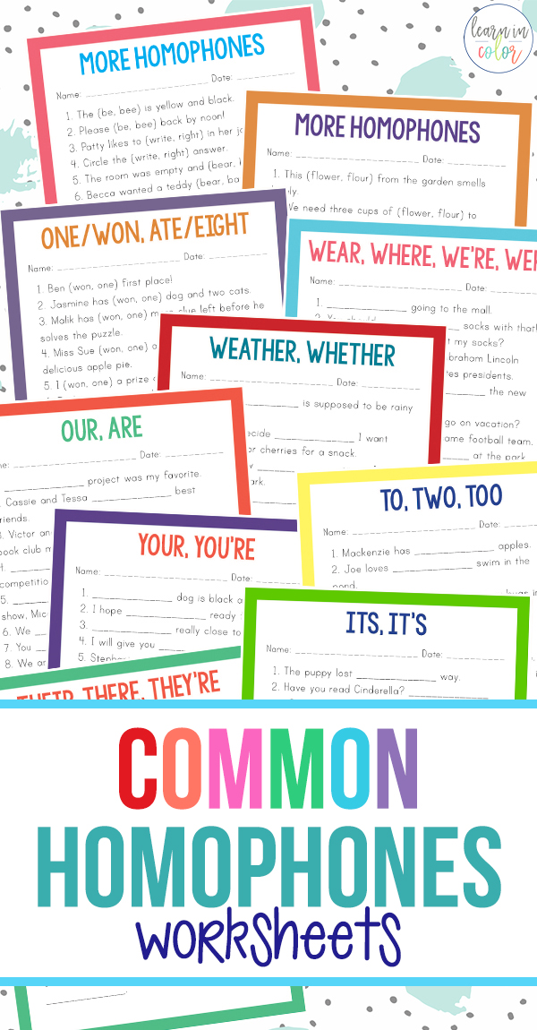 Homophones can be tricky to remember! Teach homophones and enjoy this packet of fun common homophones worksheets.