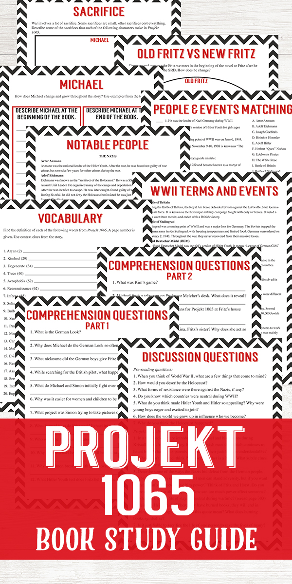 Use this book study guide for Projekt 1065 by Alan Gratz to introduce notable people and events of World War II to middle schoolers.