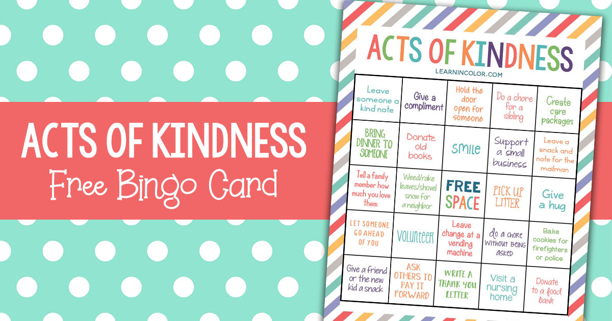 image about Random Acts of Kindness Cards Printable titled Random Functions of Kindness for Youngsters with Cost-free Bingo Card