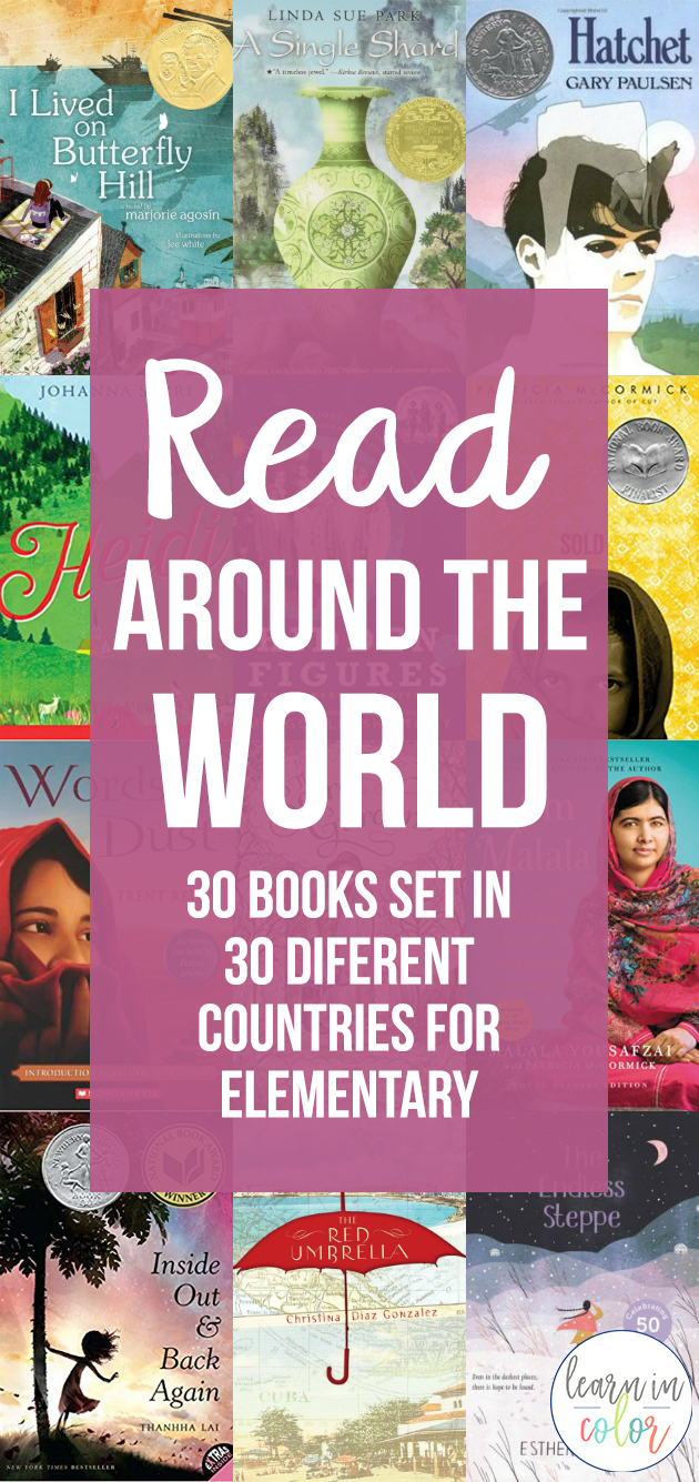 Books can transport us anywhere! Read around the world with these 30 books for elementary books set in Chile, France, Japan, China, and more!