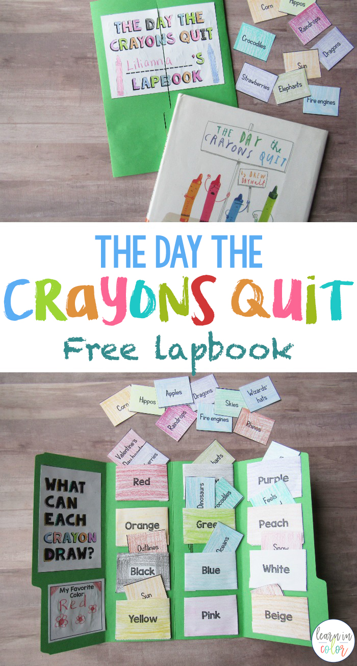 Learn about colors with this adorable free The Day the Crayons Quit lapbook! This activity is simple, engaging, and hands-on.