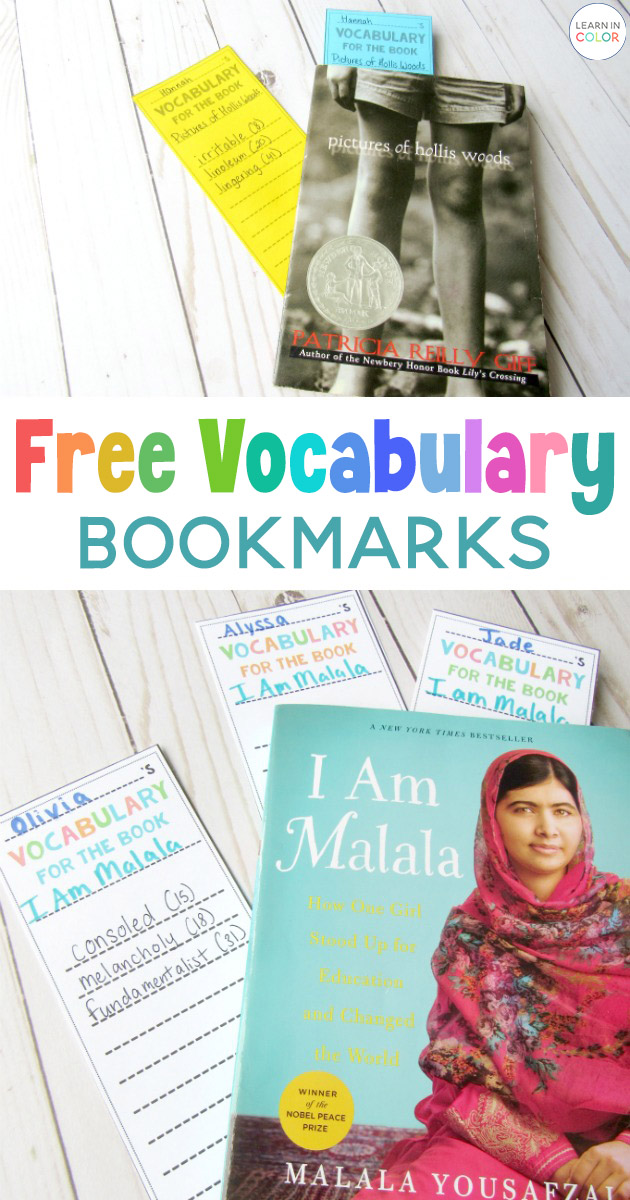 Grab these free vocabulary bookmarks to keep track of vocabulary words during individual reading!