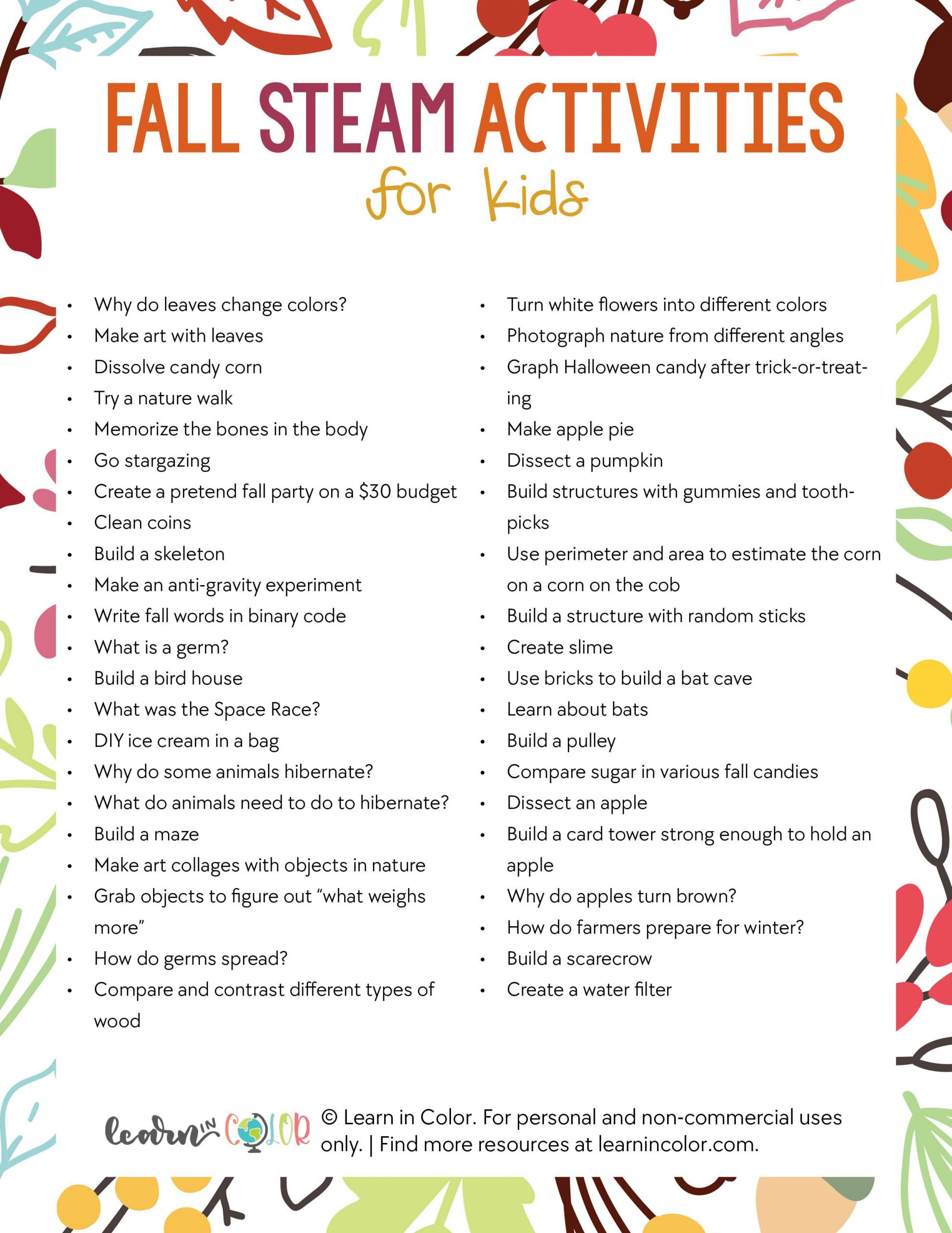 Fall Steam Activities For Kids Learn In Color