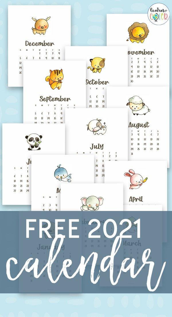 Free 2021 Calendar | Free Printable Animal Calendar