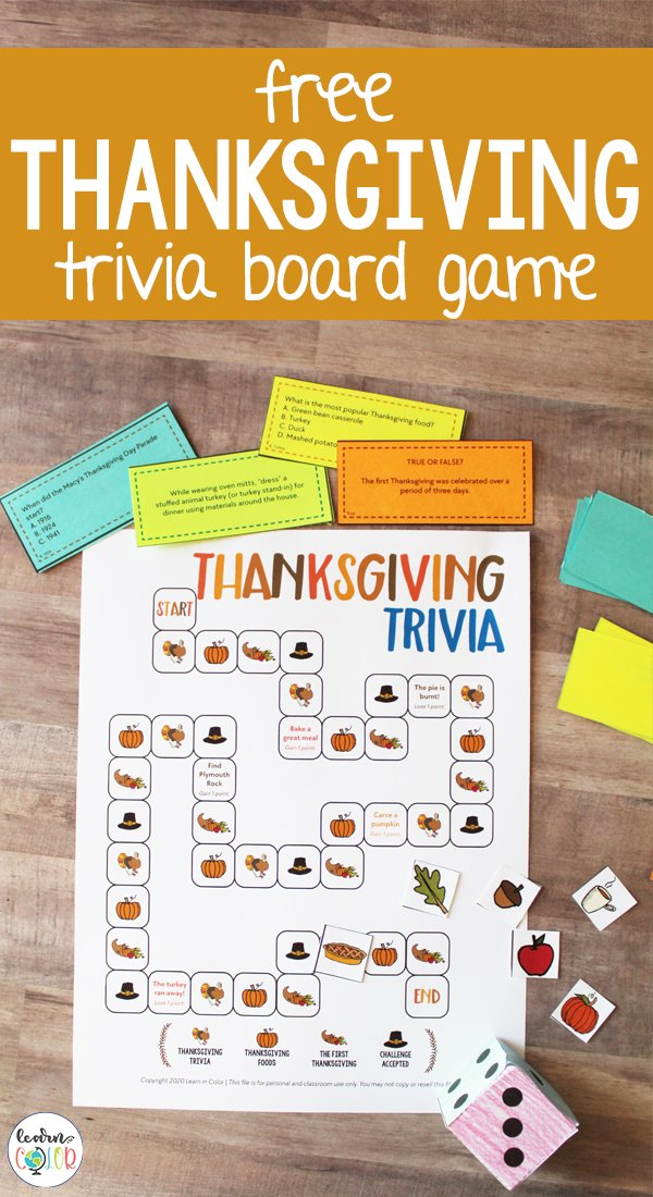 Learn more about Thanksgiving with this free printable Thanksgiving board game for kids and the family.