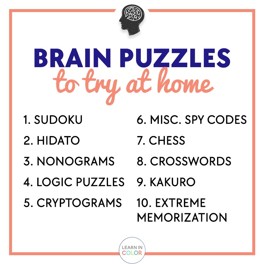 10 Fun Brain Puzzles To Try At Home Learn In Color